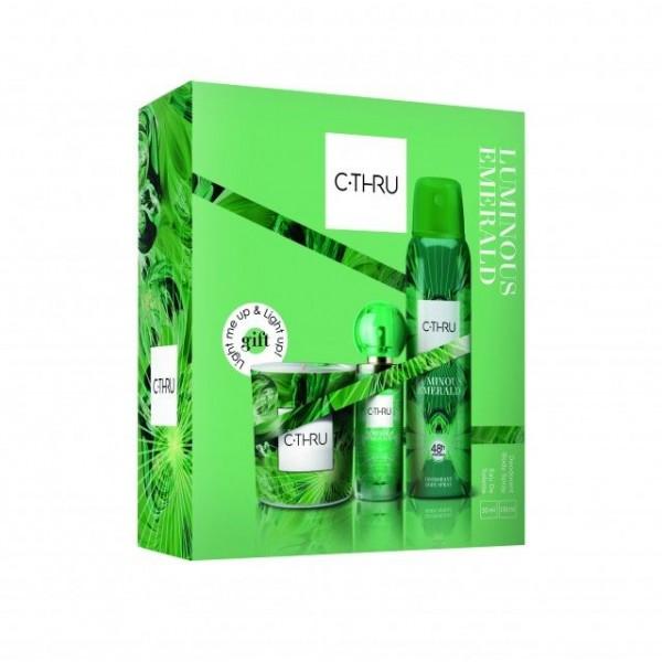 Комплект от 3 части - тоалетна вода, дезодорант, ароматна свещ - C-Thru Luminous Emerald