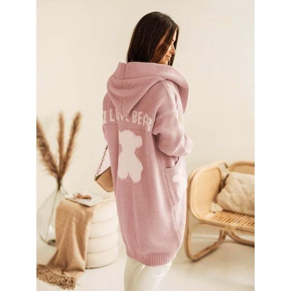 Плетена жилетка Love Bear розова