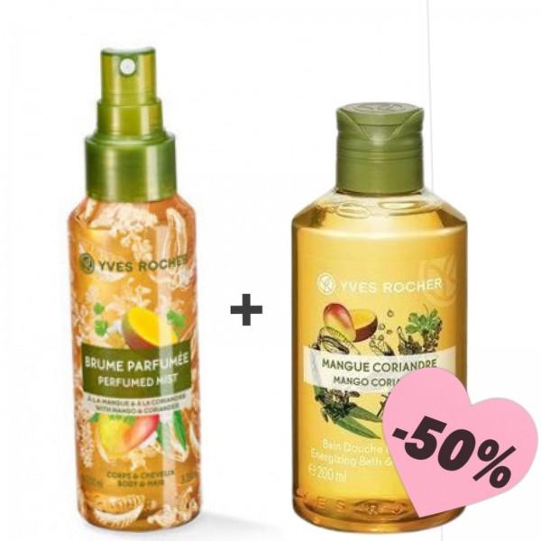 Оферта мист за коса и тяло и душ гел Yves Rocher манго и кориандър