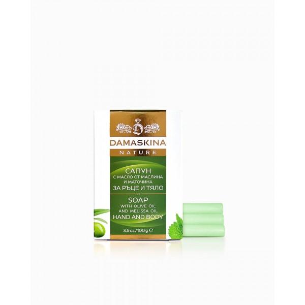 Damaskina сапун за ръце и тяло с масло от маслина и маточина 100 гр