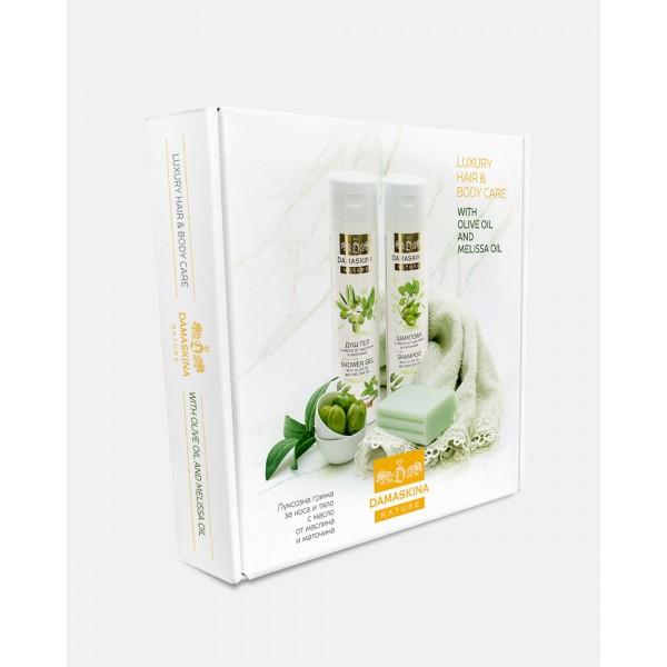 Damaskina луксозна грижа за коса и тяло - комплект с масло от маслина и маточина